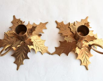 Set of 2 Vintage Leafy Brass Candle Holders/Vintage Candle Holders