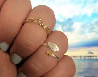 Stackable Cloud and Mountain Range Ring Sets