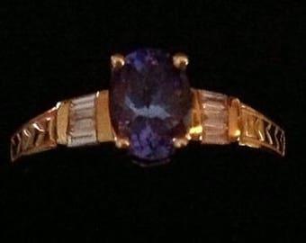 Tanzanite and Diamond 14 karat gold Ring