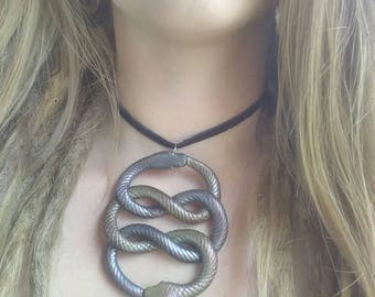 AURYN neverending story fantasy // snake orobourous clay necklace pendant