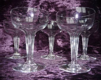 """Set of 5 Faceted Hollow Stem Fostoria Crystal Champagne Coupe Glasses Saucers """" Repeal """" Design Long Stemware"""