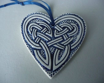 Vintage Handmade 8cm Ceramic Heart Celtic Knot Wall Hanging Decoration Scottish Studio Art Pottery