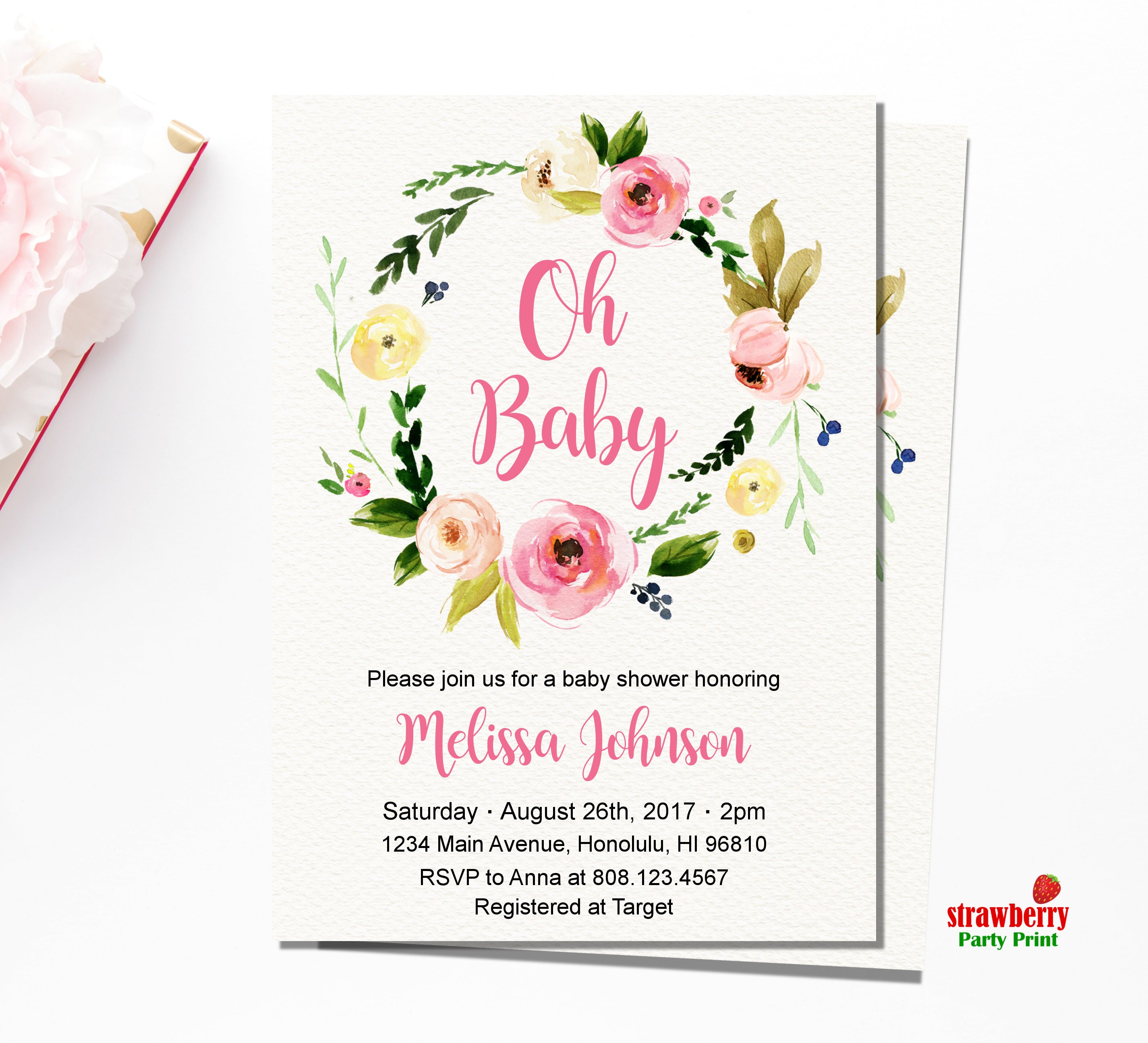 Boho Baby Shower Invitation. Floral Baby Shower Invitation. Oh Baby ...