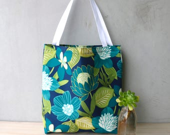 Tote Bag - Shopping Bag - Handbag - Gifts for her - Birthday - Tropical - Floral - Colourful - Bright Floral Bag - Summer Bag - Cool Tones