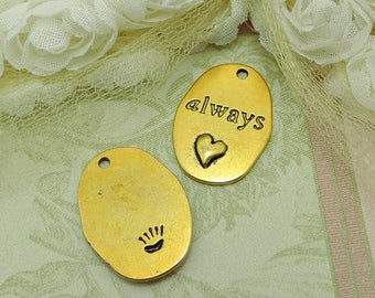 6 Heart Charms Antique Gold Tone With Always Inscribed #844