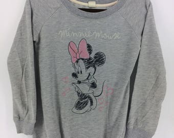 Vintage 90's Minnie Mouse Walt Disney Cartoon Classic Design Skate Sweat Shirt Sweater Varsity Jacket Size S #A781