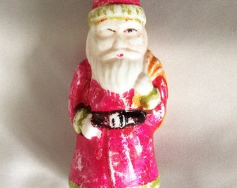 "Vintage Christmas Figural SANTA Light Bulb, Large 4.5"" Antique Old Fashioned Belsnickle Santa Claus Figural Milk Glass Light Bulb Japan FUN!"