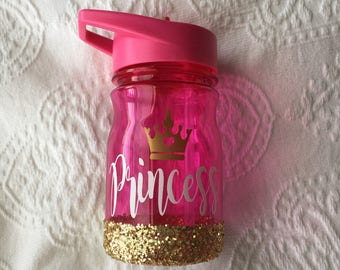 READY TO SHIP Princess Toddler/Kid Water Bottle // Glitter Kids Cup