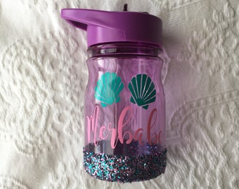 READY TO SHIP Merbabe Toddler/Kid Water Bottle // Glitter Kids Cup
