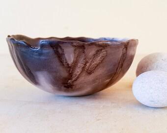 Ceramic small bowl,decorative pottery,black and white,handmade pot