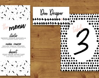 Bold Strokes Blush and Black Place Cards, Table Numbers, Menu Cards - Modern Wedding - Table Name - Name Card - Wedding Stationery
