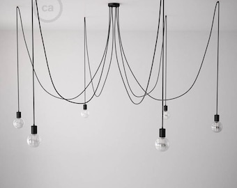 Octopus pendant lamp with multiple arms and flexible black textile cable-4 colors of sockets and ceiling rose with choice-easy assembly