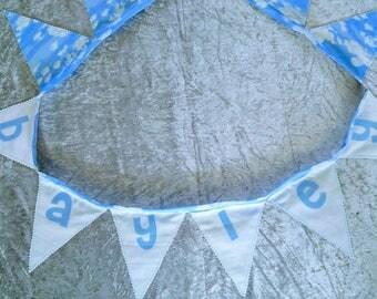 Cloud theme fabric flag bunting personalised wall hanging nursery decor
