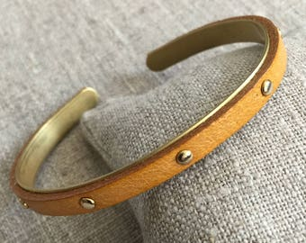 Leather and brass - Collection No. 10 Bangle Bracelet