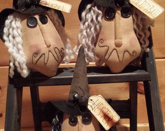 Primitive Witch Shelf Sitter, Halloween Witch Ornies, Large Bowl Filler Witches, Halloween Decoration Witch, Whimsical Witch Cupboard Tuck