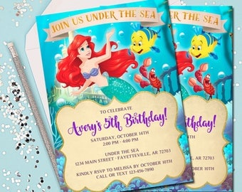 LITTLE MERMAID INVITATION, Ariel Invitation, Little Mermaid, Under the Sea, Ariel, Birthday Invitation, Little Mermaid Birthday Invite, 5x7