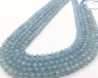 6mm Aquamarine Beads, Round Gemstone Beads, Wholesale Beads