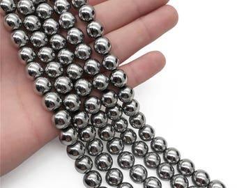 8mm Silver Hematite Beads, Round Hematite Beads, Hematite Jewelry