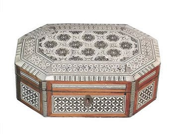 Vintage Inlaid Octagonal Box