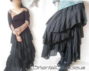 Curved Asymmetric Tiered Skirt  Gypsy Goth Peasant Boho hippie