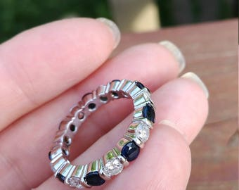 14k Gold 2.85ct Diamond Blue Sapphire Wedding Eternity Band Ring