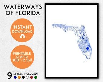 Florida map print, Printable Florida map art, Florida print, Florida art, Florida poster, Florida wall art, Florida gift, Map of Florida