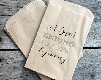 Wedding Favor Bags - A Sweet Ending to a New Beginning - Custom printed on kraft brown paper bags