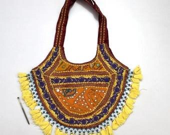 Handmade Ethnic Designer Tribal Banjara Patchwork Embroidered Hippy Fashionable Stylish Trendy Hippie Gypsy Boho Bohemian Shopper Bag F156