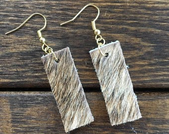 Brindle Cowhide Earrings