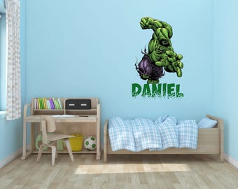 Hulk Wall Decal Etsy - Superhero wall decals for kids roomssuperhero wall decal etsy