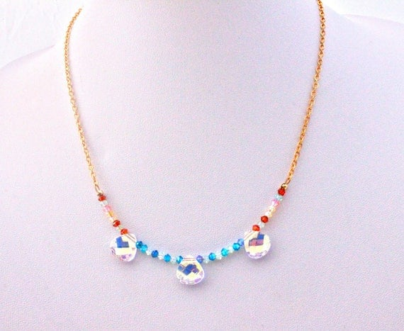 Bridal drop Swarovski crystals and gold plated chain