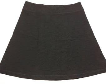Deep Black Brocade Looking Stretch Fabric Medium Weight Versatile Skirt Hidden Adjustable Tie Comfortable A-Line Cut Skims of Hips