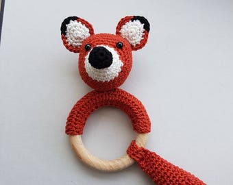 Handmade little Fox teething ring