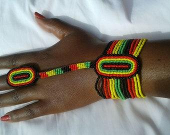 maasai bracelet with ring / colorful bracelet / beaded bracelet / african bracelet / multicolour bracelet