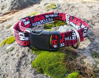 Black/Red/White Woof, Fetch, and Walk, Paws of Love Dog Collar