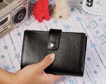 Spacey Wallet Men's Genuine Leather Wallet Card  Wallet Passport Wallet GIFT Handmade Bifold Black IBA0763