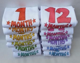 Monthly baby onesies