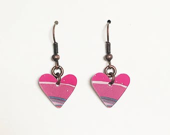 Upcycled Card Earrings - Hearts