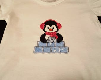 girls T shirt size 2T to 3T - Penguin Snow Fort - Tops - Embroidery Shirt - Penguins - Winter - Christmas - Snow - Play shirt - Gifts