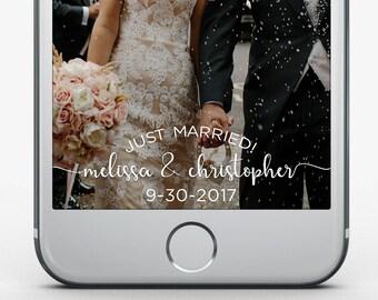 Custom Snapchat Filter, Wedding Geofilter, Wedding Snapchat Filter, Just Married Filter, Snapchat Geofilter Mr & Mrs, Elegant Wedding Filter