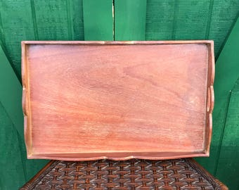Vintage Tray, Wood Tray With Rim, Carrying Handles