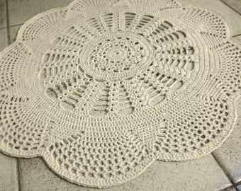 Natural recycled cotton mat, diameter 71 cm, for the room or elsewhere