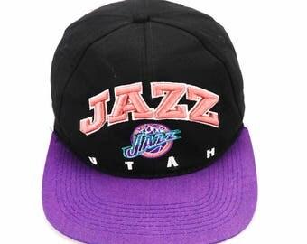 Vintage 90s UTHA JAZZ Snapback Hat Cap