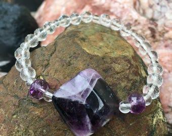Chevron Amethyst, Ametrine, Quartz stretch bracelet