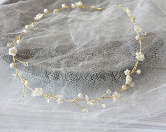 Silver, Golden hair vine Rose Gold Bridal Headband Crystal Headpiece Rose gold Bridal Hair Vine Pearl Bridal Wreath Bridal Tiara Diadem Vine