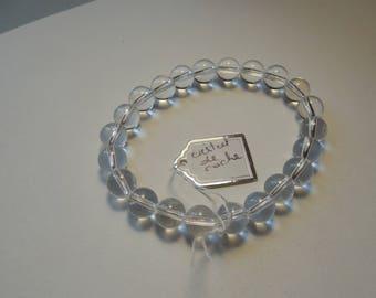 Bracelet rock crystal beads, 8 mm in diameter