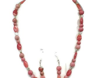 Finery Rhodocrosite, stone of protection against jealousy, necklace and earrings.