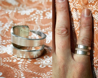 PERSONALIZED Double Fork Tine Ring
