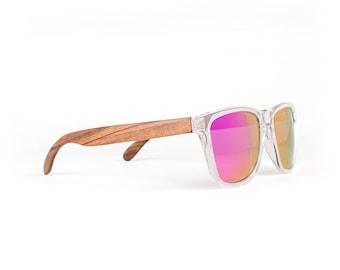 Wooden Sunglasses, Wood Frame Sunglasses, Clear Neon Pink, Handmade Neon Sunglasses by WINKWOOD