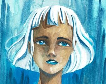 Art Print - Girl with White Hair